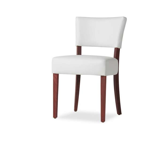 Chaise moderne blanche en vinyl et bois - Steffi - 4