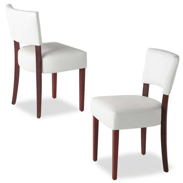 Chaise contemporaine blanche en vinyl et bois - Steffi - 6