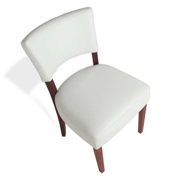 Chaise contemporaine en vinyl blanc et bois - Steffi - 7