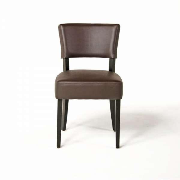Chaise moderne en vinyl marron et bois - Steffi - 11