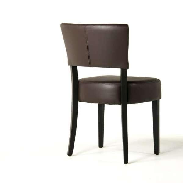 Chaise moderne en vinyl marron et bois - Steffi - 13