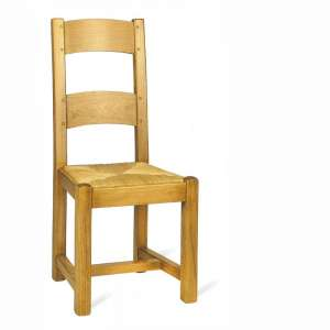Chaise de salle à manger française en bois rustique et paille - 652 662