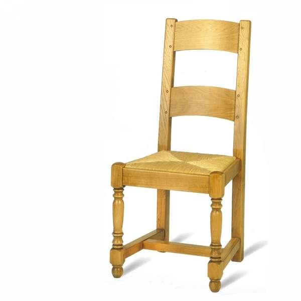 Chaise de séjour française en bois rustique et paille - 652 662 - 2