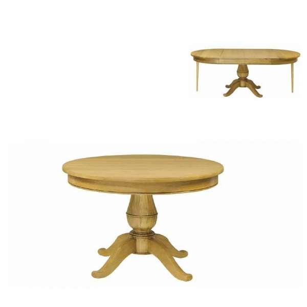 Table style Louis-Philippe ronde en bois massif à pied central avec allonges - Quadripodes - 1