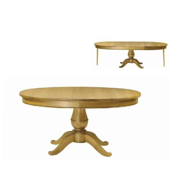 Table Louis-Philippe ovale en bois massif à pied central avec allonges - Quadripodes - 2