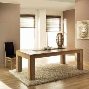 Table de salle à manger en chêne massif extensible française avec insert céramique - Baobab