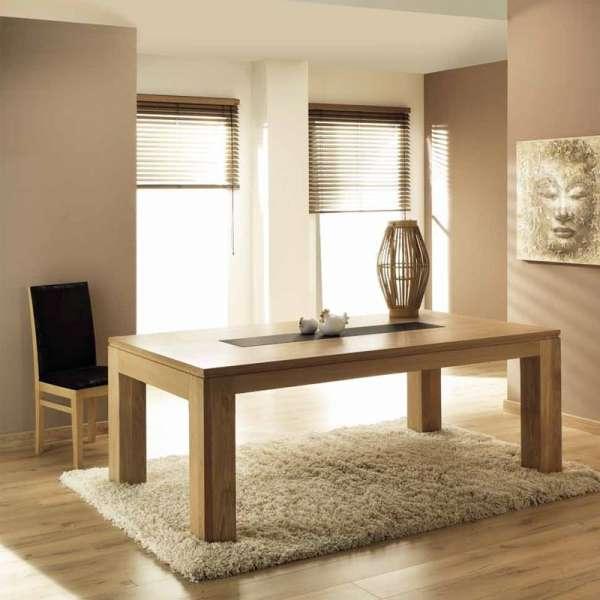 Table de salle à manger en chêne massif extensible avec insert céramique - Baobab
