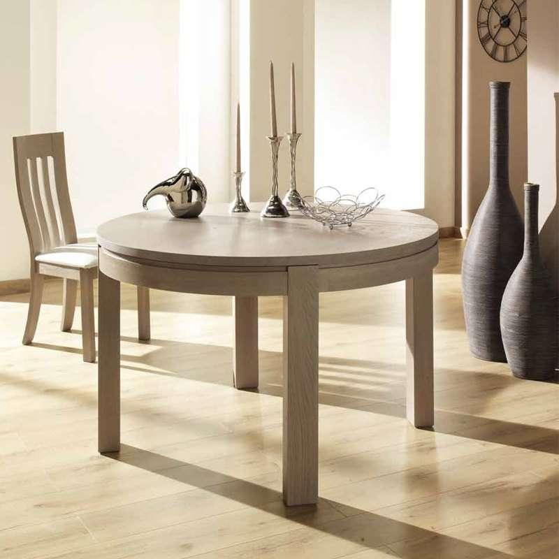 Table ronde de salle manger en bois extensible - Salle a manger en bois ...