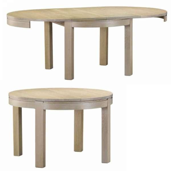 Table ronde de séjour en bois massif avec allonges fabrication française - Tapana - 2