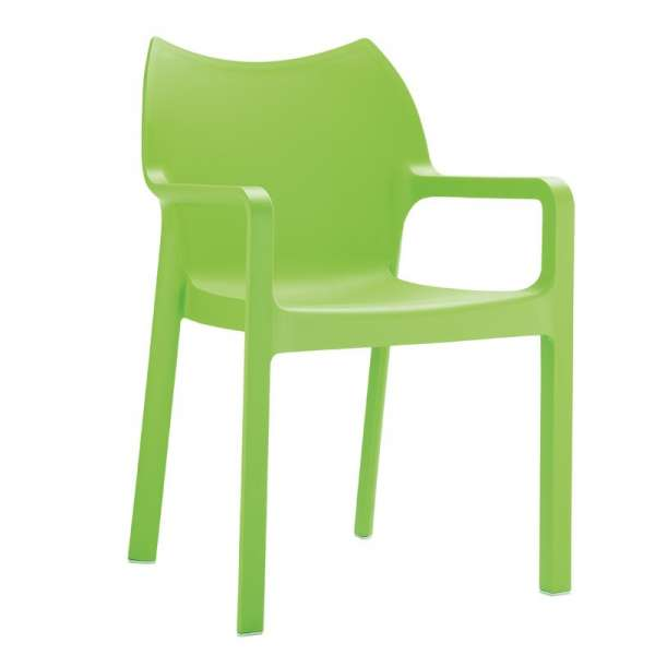 Fauteuil vert design empilable en polypropylène - Diva - 14