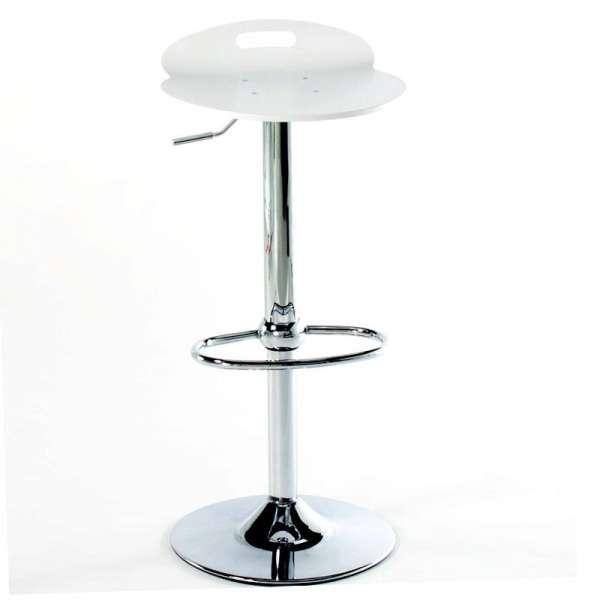 Tabouret design réglable pivotant en acier chromé et bois blanc - Rock 1339 7 - 4
