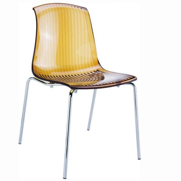 Chaise moderne en polycarbonate ambre transparent - Allegra - 7