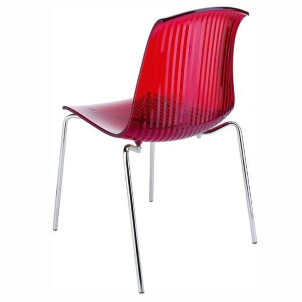 Chaise moderne en polycarbonate rouge transparent - Allegra - 11