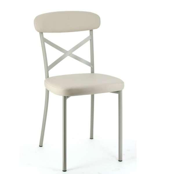 Chaise de cuisine en vinyl et métal - Calia - 1