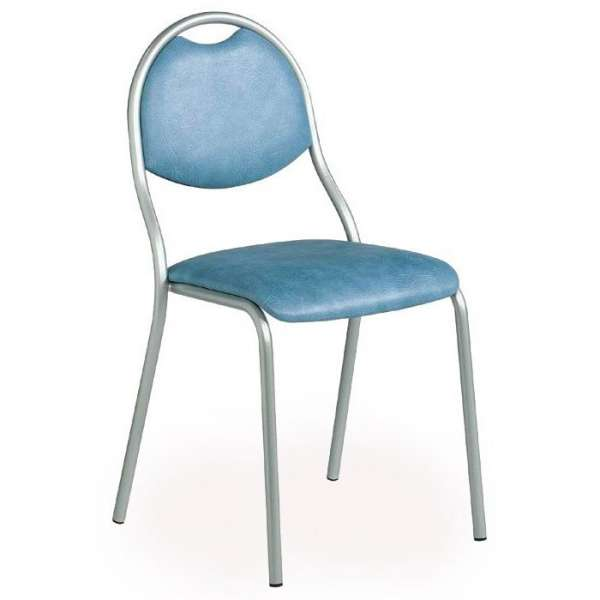 Chaise de cuisine en métal avec assise et dossier rembourrés - Corfou - 1