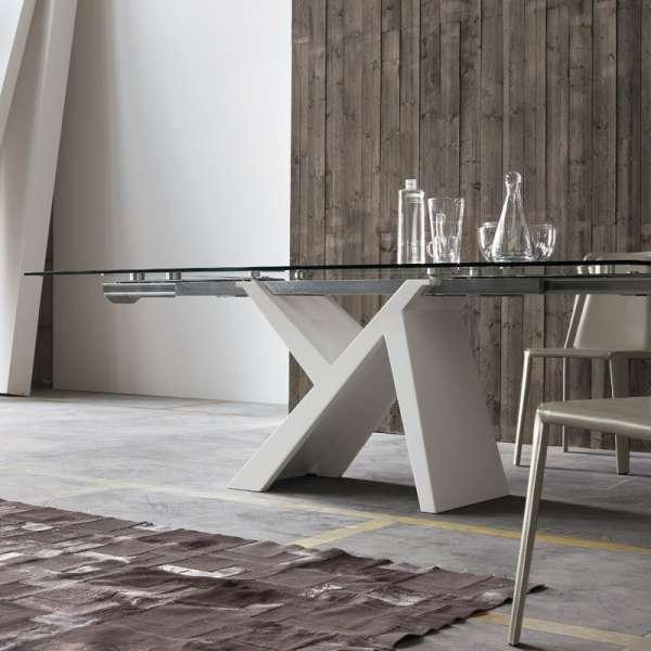 Table design extensible en verre et bois laqué blanc - Ikarus - 2