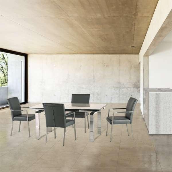 Table design en verre avec allonges avec pieds chromés - Tanina - 2