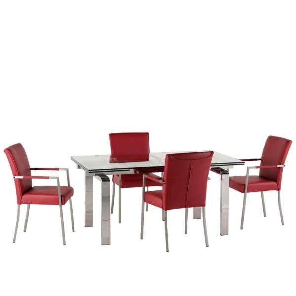 Table avec pieds chromés et plateau en verre extensible - Tanina - 7