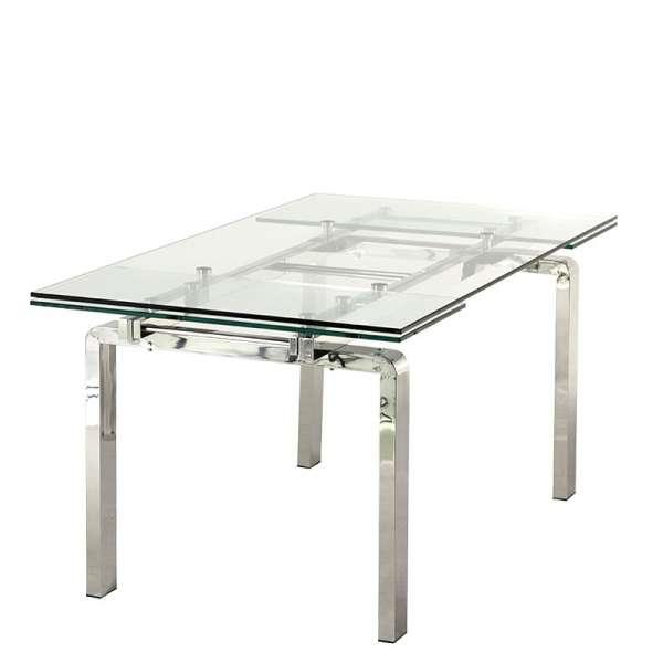 Table moderne en verre extensible avec pieds chromés - Tanina - 5