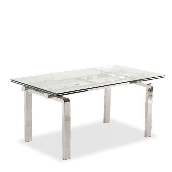 Table en verre extensible avec pieds chromés - Tanina - 6