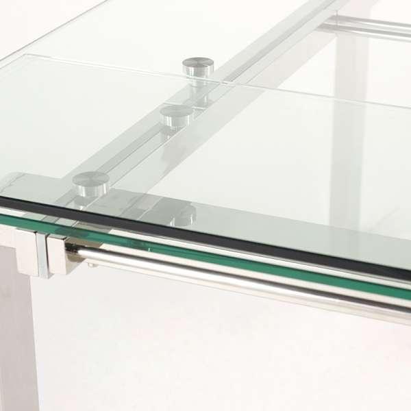 Table en verre avec allonges avec pieds chromés - Tanina - 8