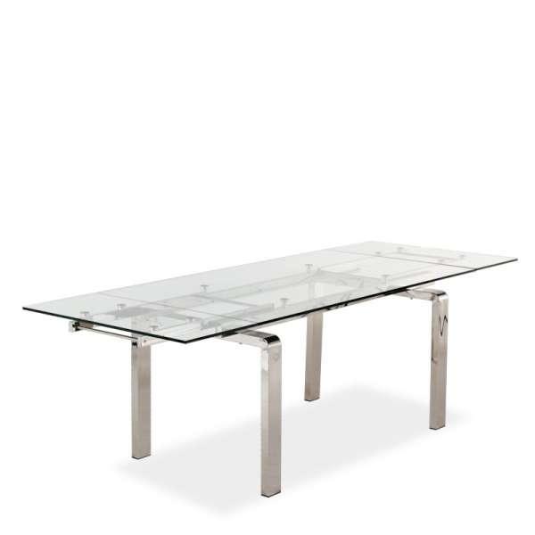 Table tendance en verre avec allonges avec pieds chromés - Tanina - 4