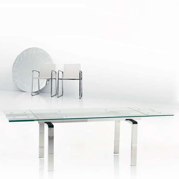 Table tendance en verre extensible avec pieds chromés - Tanina - 3
