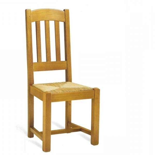 Chaise de salle à manger en bois rustique en chêne - 1