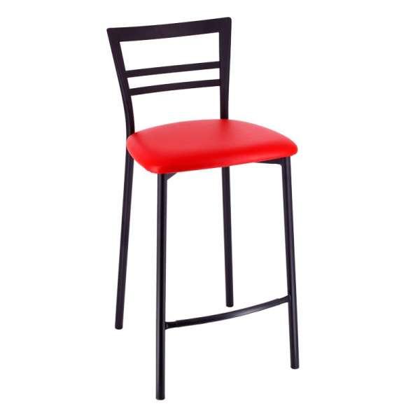Tabouret snack rembourré en métal noir assise rouge - Go 1513 4 - 6