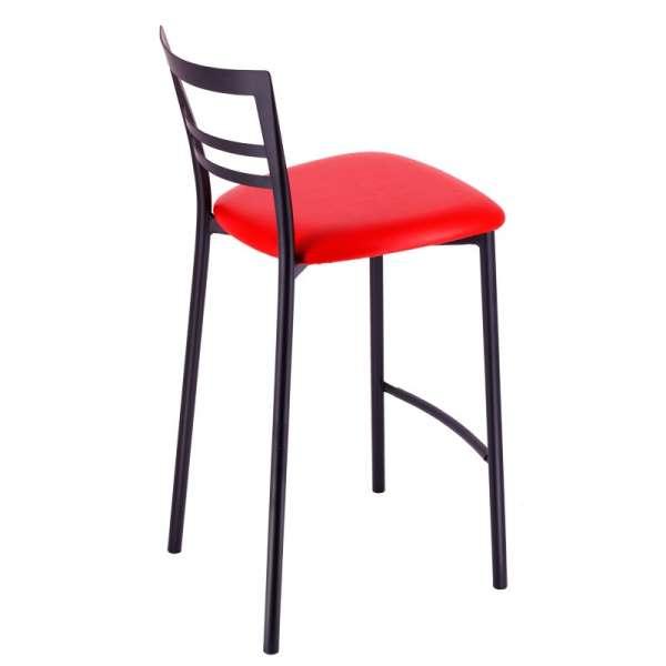 Tabouret snack rembourré en métal noir assise rouge - Go 1513 6 - 8