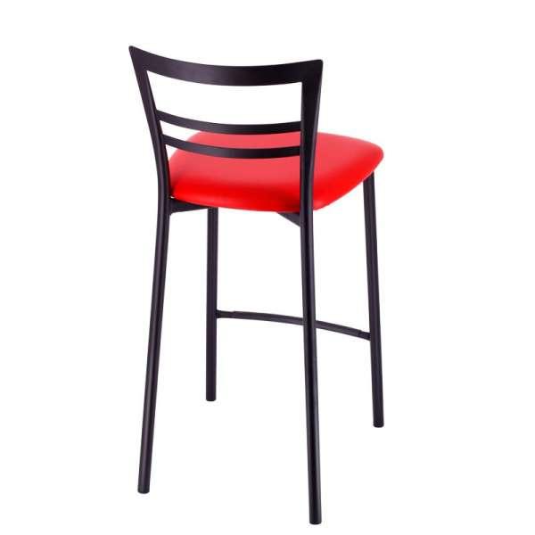 Tabouret snack rembourré en métal noir assise rouge - Go 1513 5 - 7