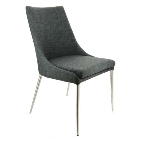 Chaise moderne en tissu gris  déhoussable avec pieds en métal inox - Debby - 2
