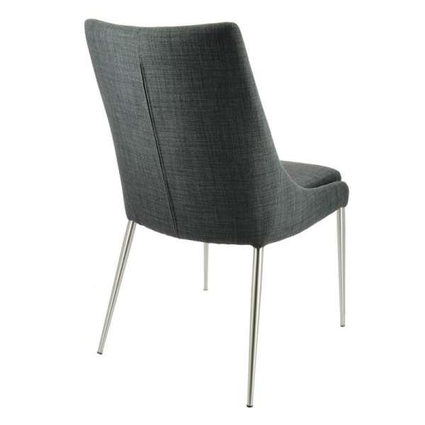 Chaise en tissu gris déhoussable avec pieds en métal inox - Debby - 3