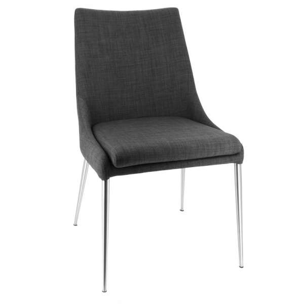 Chaise moderne en tissu gris foncé déhoussable avec pieds en métal inox - Debby - 1