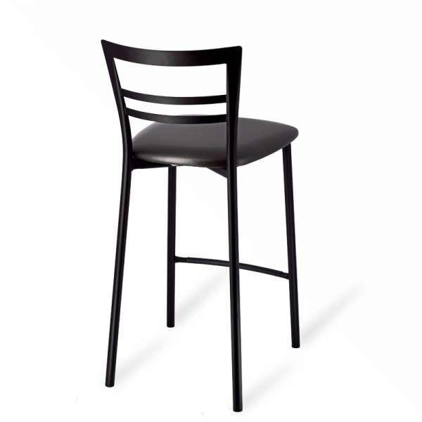 Tabouret snack rembourré en métal noir assise noire - Go 1513 3 - 5