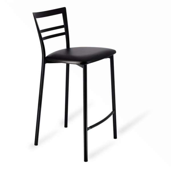 Tabouret snack rembourré en métal noir assise noire - Go 1513 1 - 3