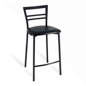 Tabouret snack rembourré en métal noir assise noire - Go 1513