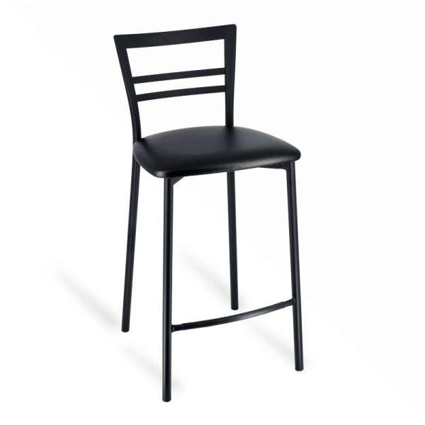 Tabouret snack rembourré en métal noir assise noire - Go 1513 - 1