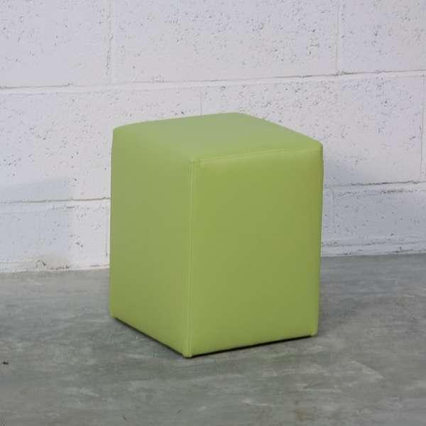 Pouf carré en vinyle vert – Quadra - 1