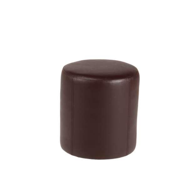 Pouf rond marron en synthétique – Rondo - 7