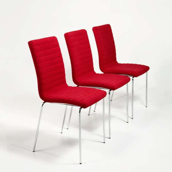 Chaise moderne empilable en tissu rouge et acier chromé - Krono Midj® - 3