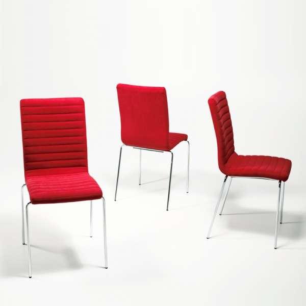 Chaise empilable en tissu rouge et métal chromé - Krono Midj® - 4