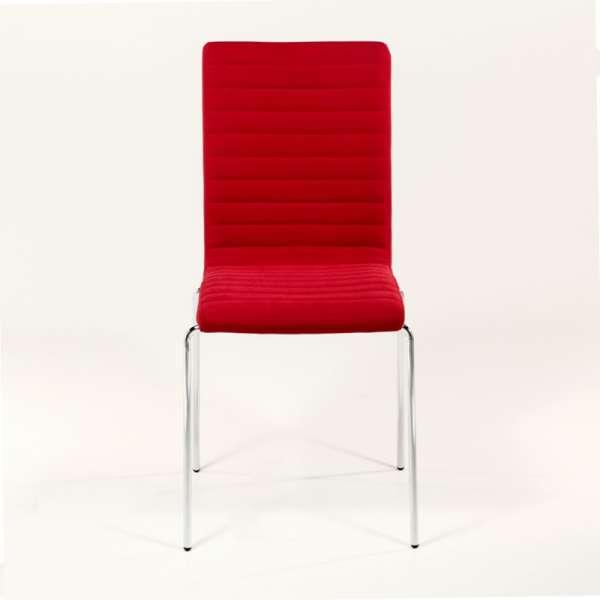 Chaise empilable en tissu rouge et acier chromé - Krono Midj® - 5