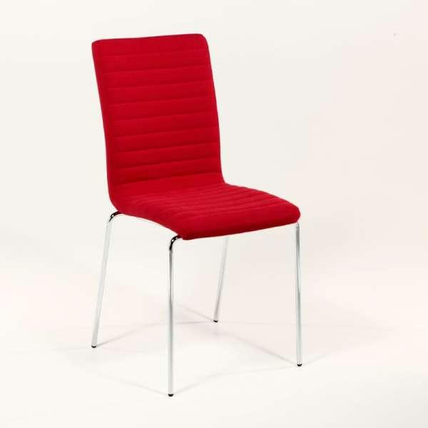 Chaise moderne empilable en tissu rouge et métal chromé - Krono Midj® - 2