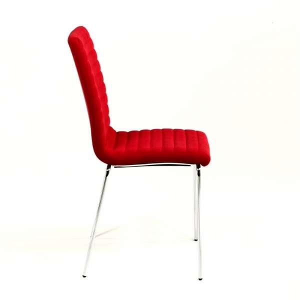 Chaise en tissu rouge et acier chromé - Krono Midj® - 6