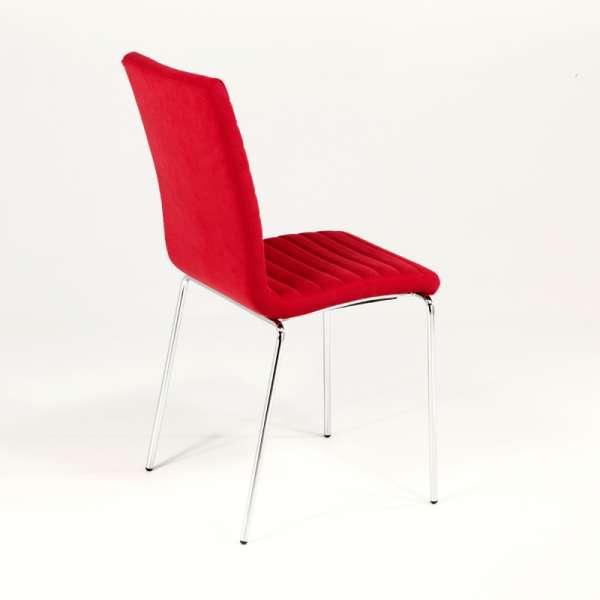 Chaise tendance empilable en tissu rouge et métal chromé - Krono Midj® - 9