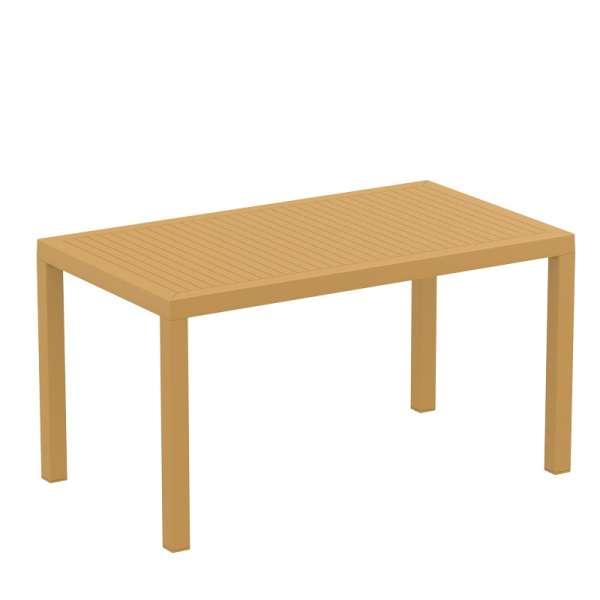 Table de terrasse rectangulaire en résine jaune moutarde - Ares - 12