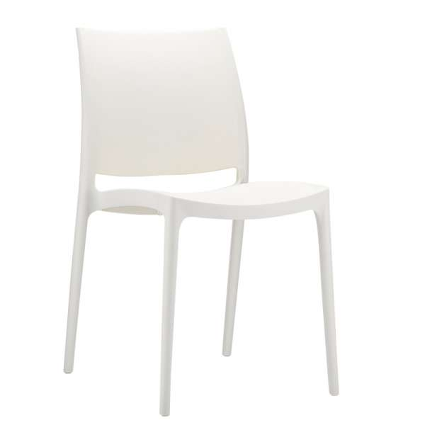 Chaise design blanche empilable - Maya - 15