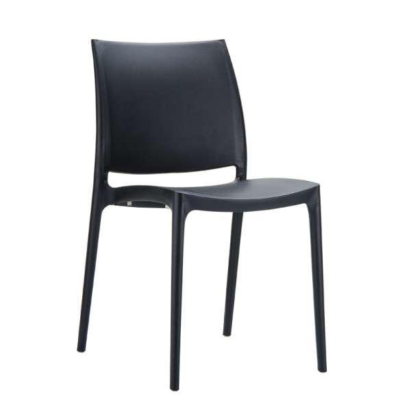 Chaise noire en plastique polypropylène - Maya - 10