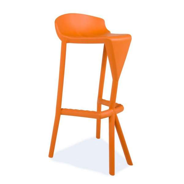 Tabouret design orange en plastique - Shiver - 19